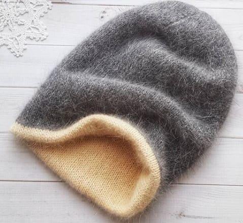 Двусторонняя шапка спицами