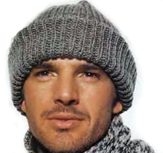 мужская шапка с отворотом спицами 8 моделей со схемами