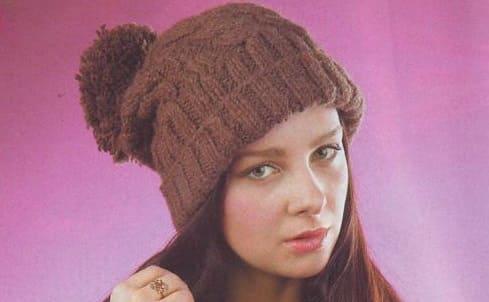 шапки бини спицами с косами 7 моделей со схемами вязания