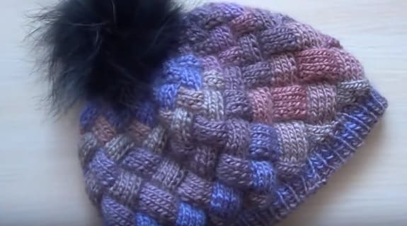 шапка энтерлак спицами пошаговый мастер класс с видео