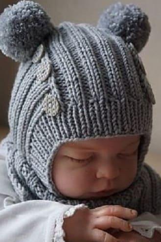 шапка шлем для мальчика до года спицами от новорожденного до 12 мес