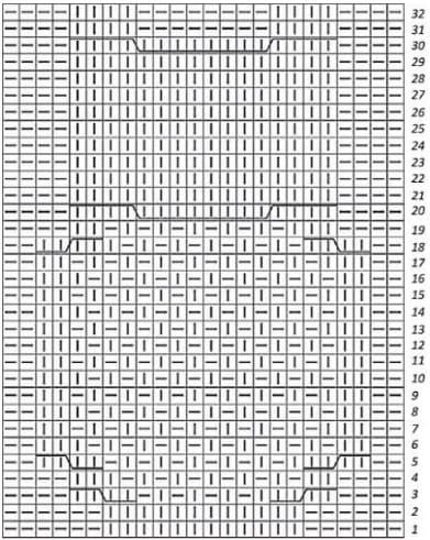 Схема узора с совой спицами