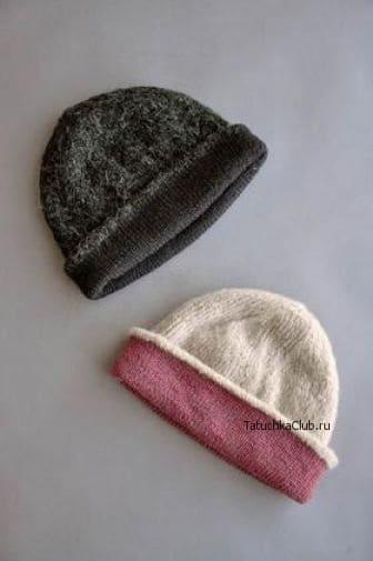 Двойная шапка с отворотом