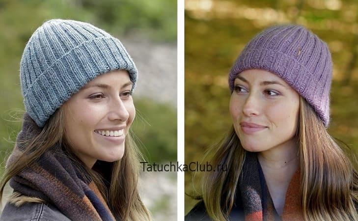шапка резинкой 2 на 2 спицами 6 моделей с описанием и схемами