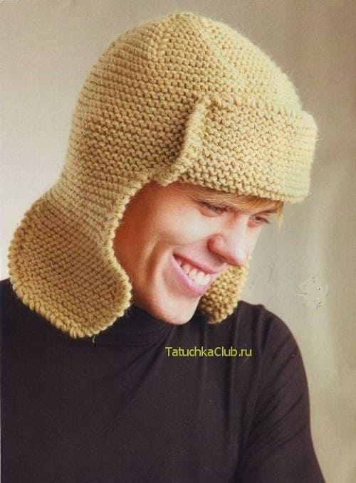 Мужская зимняя шапка ушанка спицами