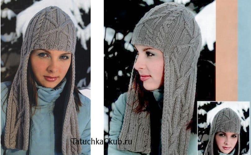 женские вязаные шапки с длинными ушами спицами 3 модели