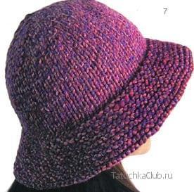 Шляпа вязаная спицами