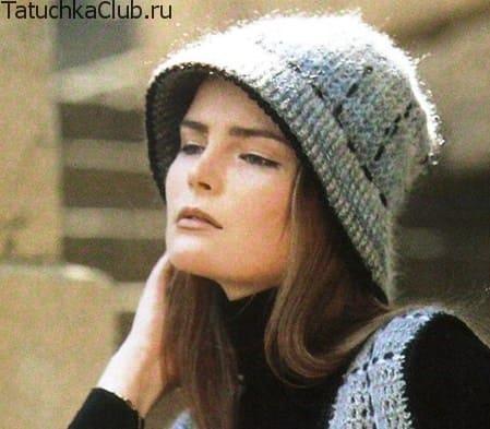 Теплая женская шляпка крючком