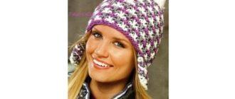Трехцветная шапка спицами