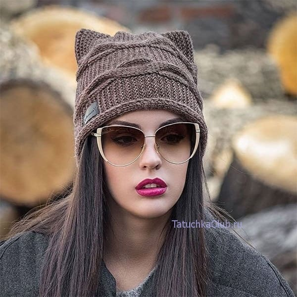 шапка кошка с ушками спицами 8 моделей с описанием