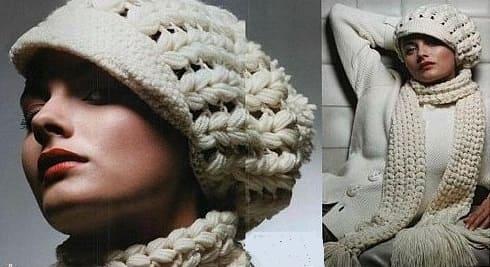 Вязание шапки с козырьком