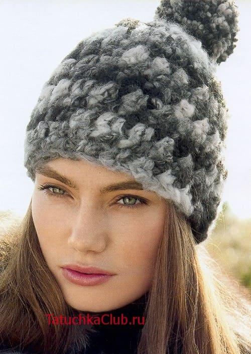 Вязаные зимние шапки крючком