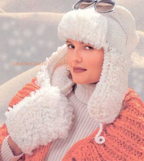 Женская ушанка с имитацией меха