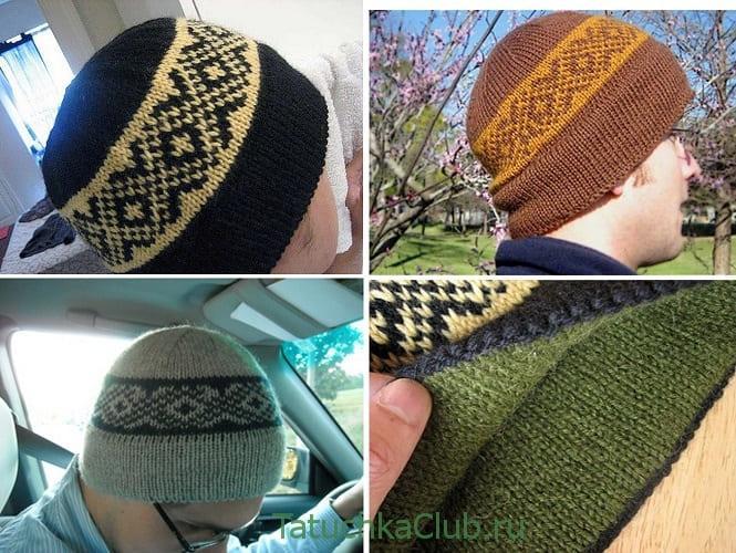 Мужская двойная шапка на спицах