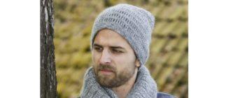 Мужская шапка крючком на зиму