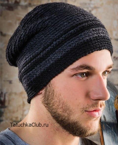 Вязаная крючком мужская шапка