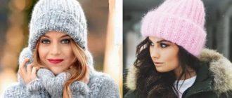 Зимние шапки на спицах