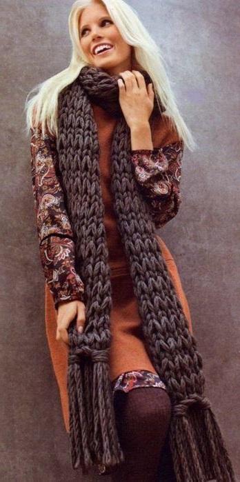 Длинный шарф простая схема