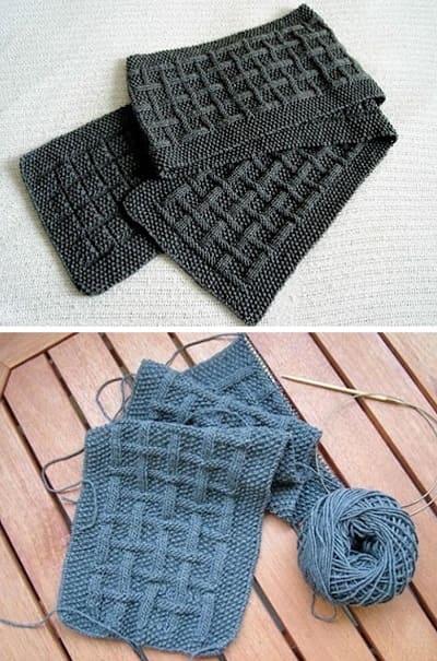 Эффектный узор для мужского шарфа