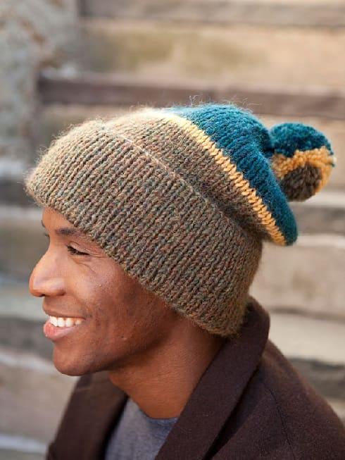 Мужская шапка резинкой 1 х 1