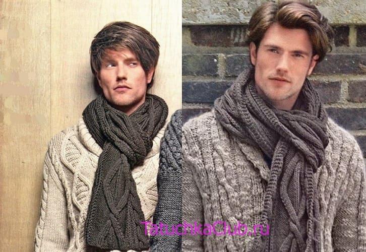 мужской шарф спицами 10 моделей со схемами и описанием