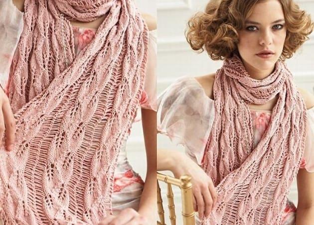 Ажурный шарф со спущенными петлями