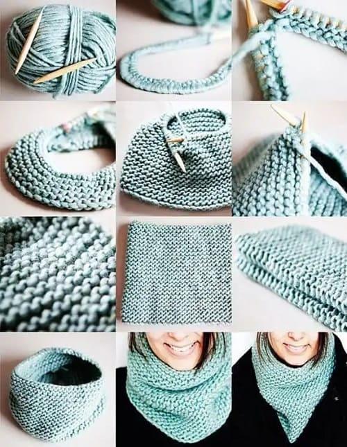 Хомут платочной вязкой на круговых спицах