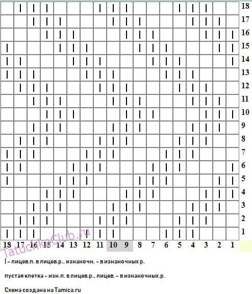 Схема вязания вертикального зигзага