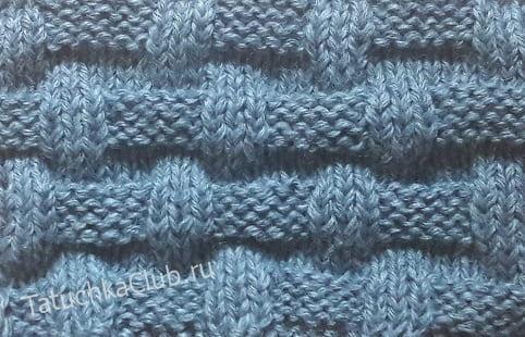 Вязание узора корзинки со смещением