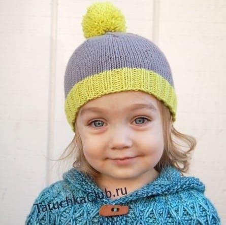 Детская шапка лицевой гладью