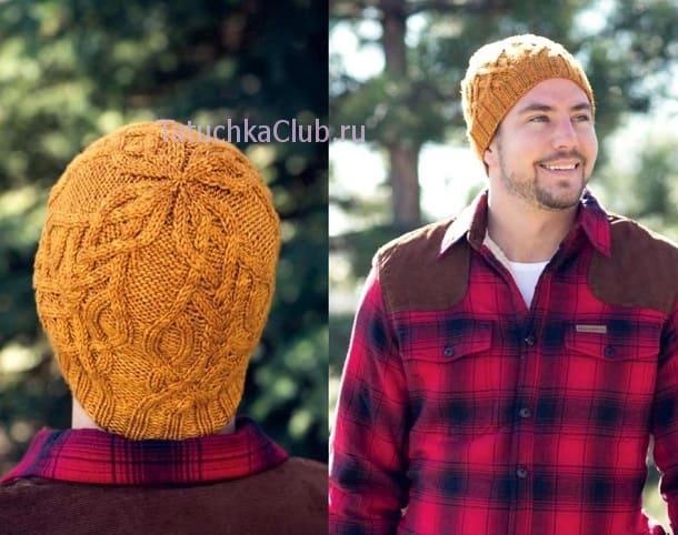 Мужская шапка с аранами - вид спереди и сзади