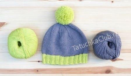 Простая шапочка чулочным вязаньем