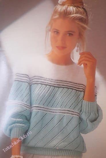 Пуловер диагональным узором из трех цветов пряжи