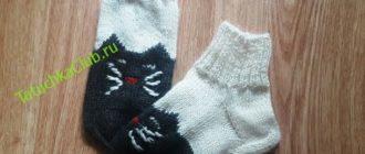 Вязаные спицами носки с кошками