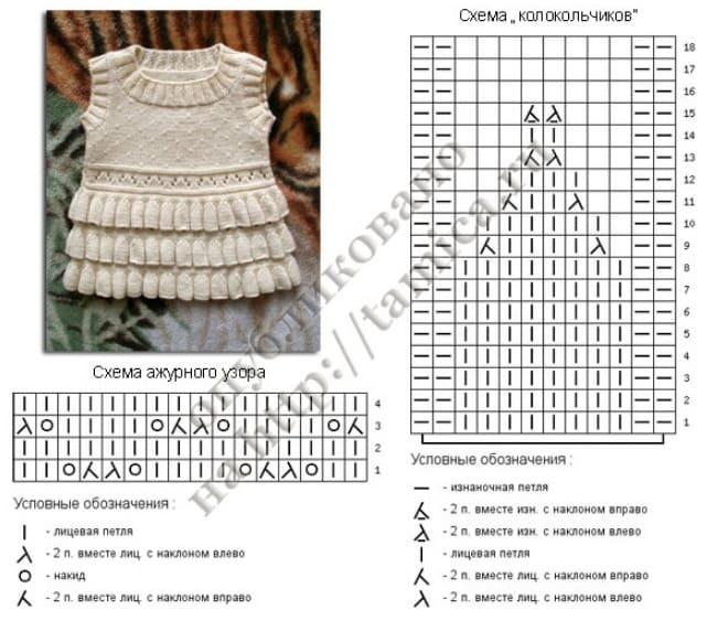 Схема длинного колокольчика спицами