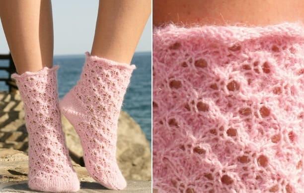 Фото от drops - розовые ажурные носки