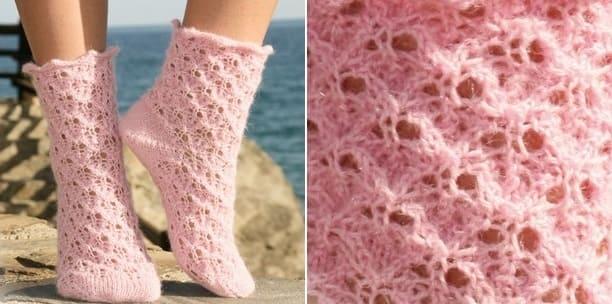 Фото от Drops - розовые носки спицами