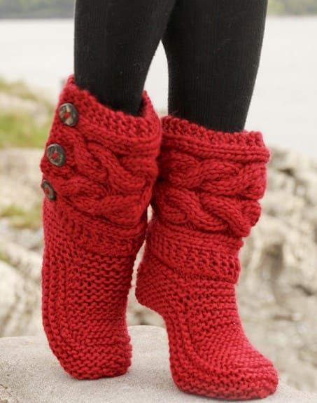 Красные носки сапожки спицами