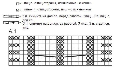 Схема вязания носков с поперечной косой
