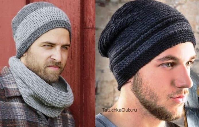 Коллекция вязаных мужских шапочек