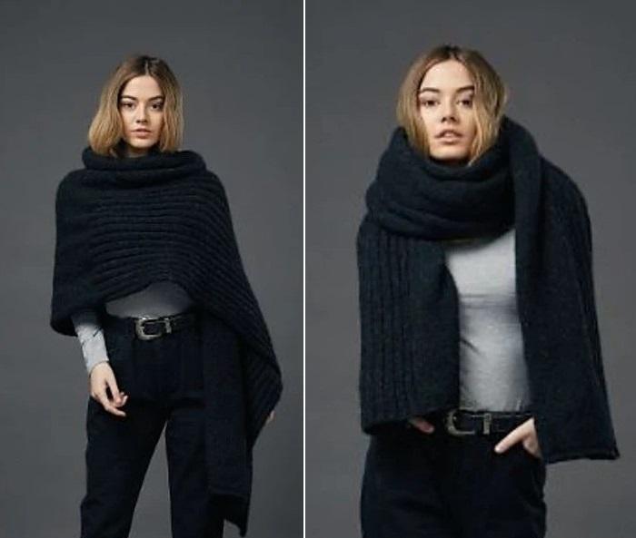 Широкий молодежный шарф накидка