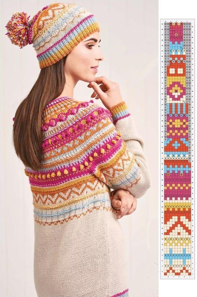 Джемпер и шапка в норвежском стиле
