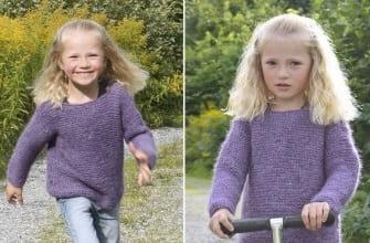 Детский свитер платочной вязкой